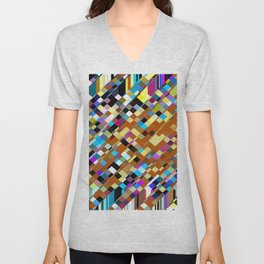 geometric square pixel pattern abstract background in brown yellow blue pink Unisex V-Neck