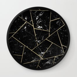 Black Marble Gold Geometric Glam #1 #geo #decor #art #society6 Wall Clock