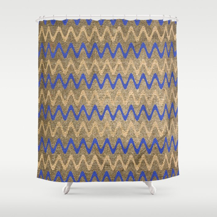 Blue and Tan Zigzag Stripes on Grungy Brown Burlap Graphic Design Shower Curtain