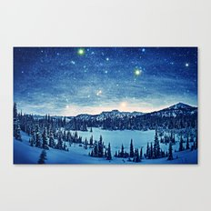 Starry Night Over the Snowy Land Canvas Print