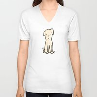 golden retriever V-neck T-shirts featuring Golden retriever watercolor by Chloe Meister