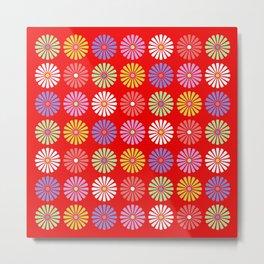 Pastel Flowers Pattern (On Red) Metal Print