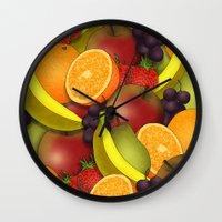 fruit Wall Clocks featuring Fruit by AdamSteve