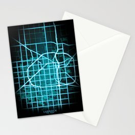 Lubbock, TX, USA, Blue, White, Neon, Glow, City, Map Stationery Cards