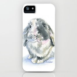 Gray and White Lop Rabbit iPhone Case
