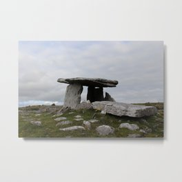 Poulnabrone Dolmen with Flowers Metal Print