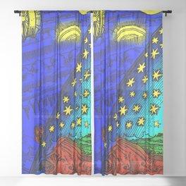 "Flammarion Woodcut (1888) ""Cosmic design"" (5) Sheer Curtain"