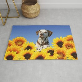 Dalmatian Dog in Field with Sunflowers Rug