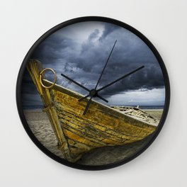 Beached Boat with Storm Brewing Wall Clock