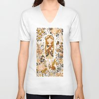 floral V-neck T-shirts featuring The Queen of Pentacles by Teagan White