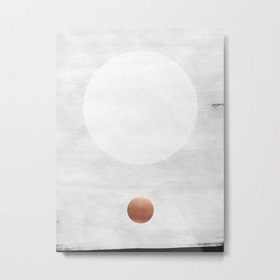 white & copper Metal Print