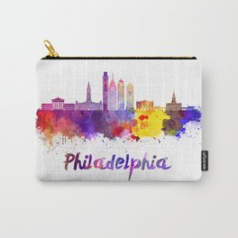 Philadelphia V2 skyline in watercolor Carry-All Pouch