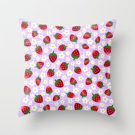 Sweet Strawberries - lilac Throw Pillow