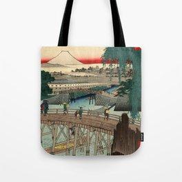 Ichikoku Bridge in the Eastern Capital by Hiroshige Tote Bag