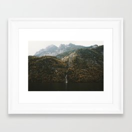 Autumn Waterfall at the Mountain Lake - Landscape Photography Framed Art Print
