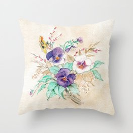 Pansies Bouquet Throw Pillow