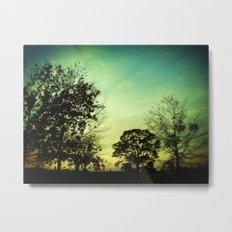 Orange Green Blue Sky Metal Print