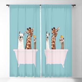 Playful Gangs in Bathtub Blue Blackout Curtain