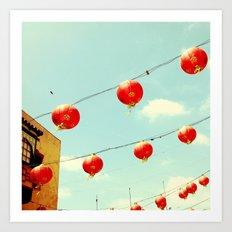 Lanterns III, Chinatown Art Print