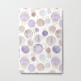 Watercolour Circles | Lavender, Gold & Lilac Palette Metal Print