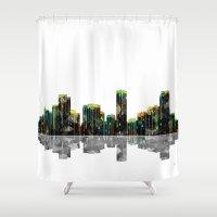 denver Shower Curtains featuring Denver Skyline BW by Marlene Watson
