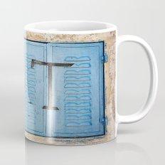 Vibrant Blue Window in Stone Wall Mug