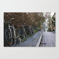 Bicycles on a cobble stone road, Hamburg, Germany 2009 Canvas Print