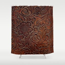 Burnished Rich Brown Tooled Leather Shower Curtain
