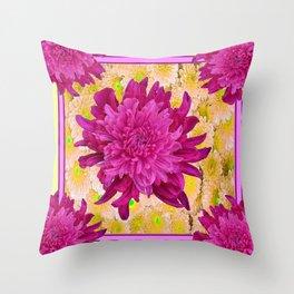 Styalized Art Purple & Yellow Chrysanthemums Floral Garden Throw Pillow