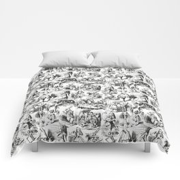 Alice in Wonderland | Toile de Jouy | Black and White Comforters