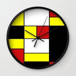 Abstract #378 Mondriaan Wall Clock