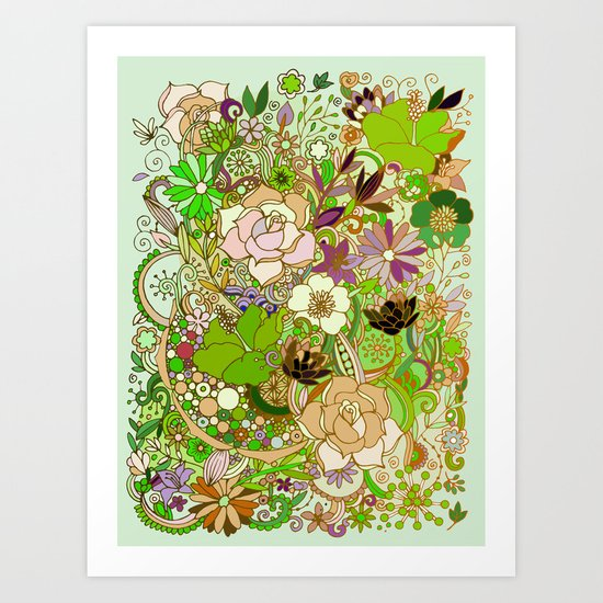 Detailed summer floral pattern, green Art Print