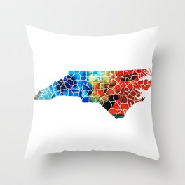 North Carolina - Colorful Wall Map by Sharon Cummings Throw Pillow
