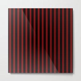 Mattress Ticking Wide Striped Pattern Red on Black Metal Print