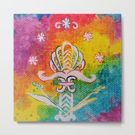 Leaves on the World Tree: Assyrian Tree of Life with Jasmine and Barley Metal Print