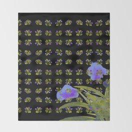 Atom Flowers #34 in purple and green Throw Blanket