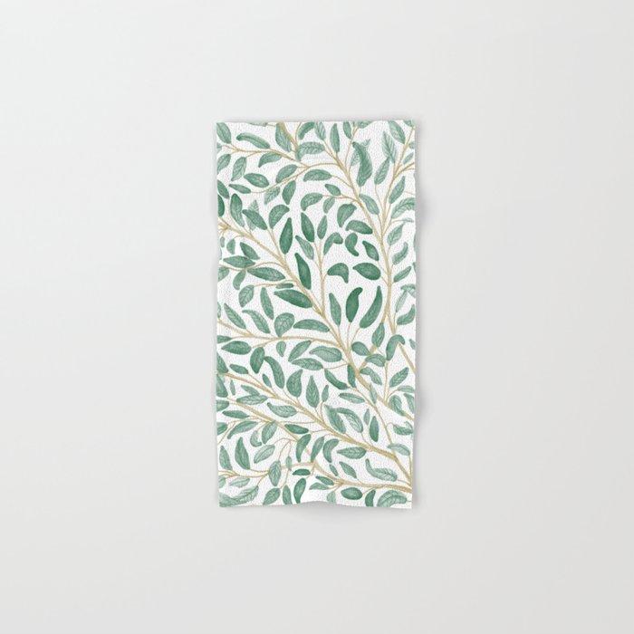 Green Leaf Pattern Hand & Bath Towel