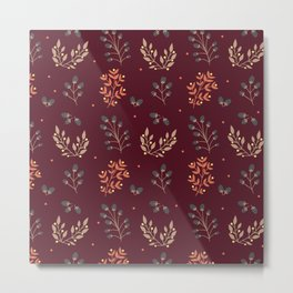 RED MERLOT FLORAL FALL Metal Print