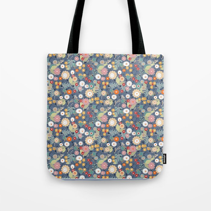 Colorful flowers on a denim background. Tote Bag