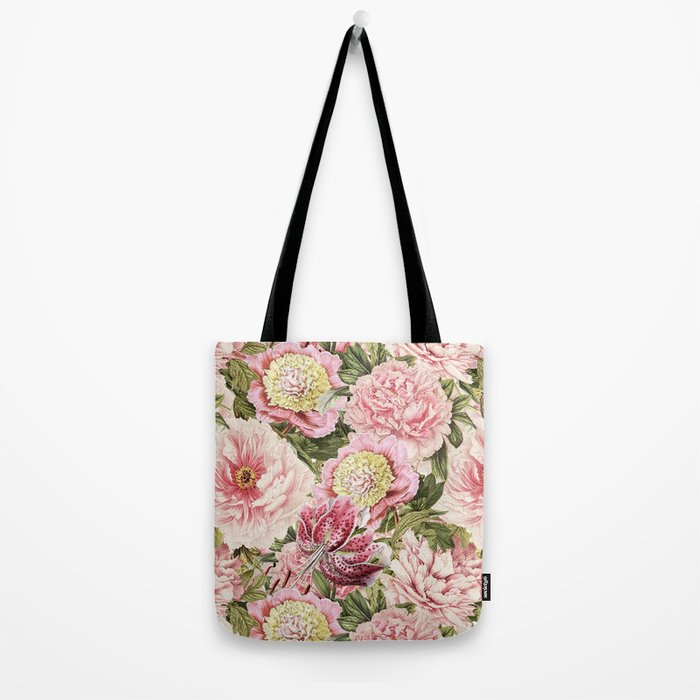Vintage & Shabby Chic Floral Peony & Lily Flowers Watercolor Pattern Tote Bag