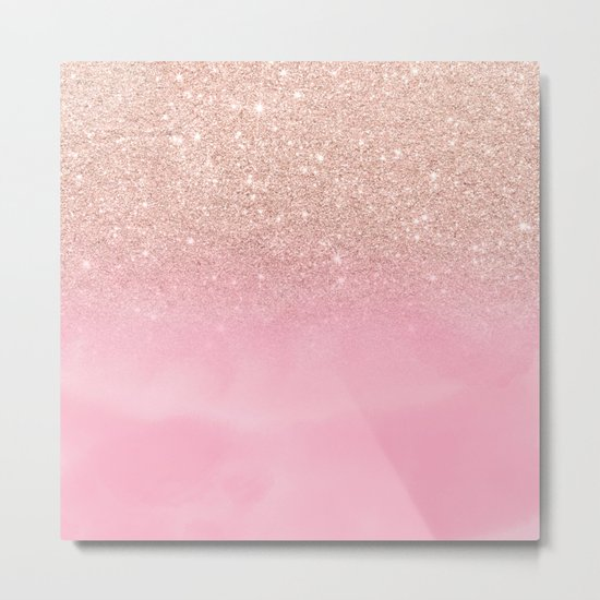 Modern rose gold glitter ombre hand painted pink watercolor Metal Print