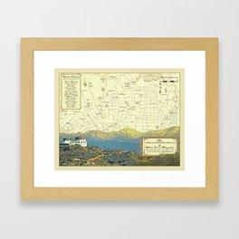 """The Hollywood Hills & West LA """"vintage inspired"""" Area map Framed Art Print"""