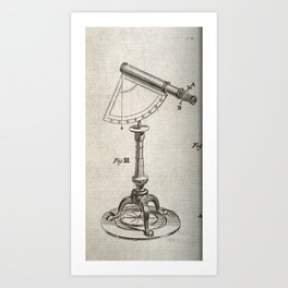 Astronomical Instruments: Large Telescope with a Protractor Pivot and Tripod Art Print