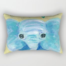 Elephant painting, Nursery Decor, Child's Room Decor, Hearts Painting, Blue, Green, Gold Rectangular Pillow