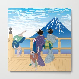 Hokusai People Seeing Mt. Fuji under the Clear Sky Metal Print