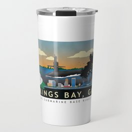 Kings Bay, GA - Retro Submarine Travel Poster Travel Mug
