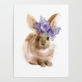 Little bunny in Wreath Poster