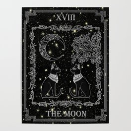 "Tarot ""The Moon"" - silver- cat version Poster"