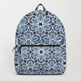 Symmetrical Flower Pattern in Blue Backpack