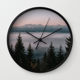 Faraway Mountains - Landscape and Nature Photography Wall Clock
